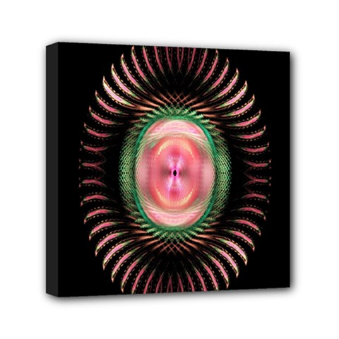 Fractal Plate Like Image In Pink Green And Other Colours Mini Canvas 6  X 6  by Simbadda