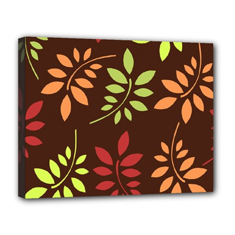 Leaves Wallpaper Pattern Seamless Autumn Colors Leaf Background Canvas 14  X 11  by Simbadda