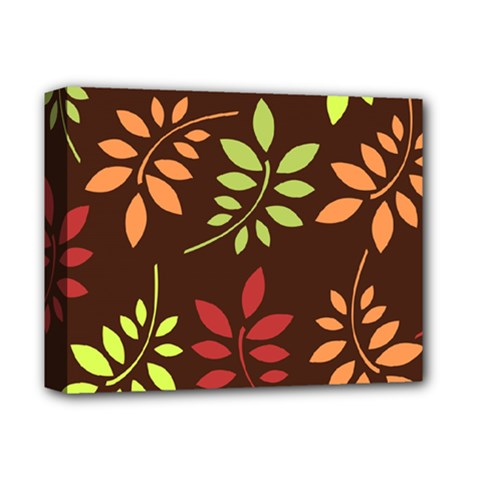 Leaves Wallpaper Pattern Seamless Autumn Colors Leaf Background Deluxe Canvas 14  X 11  by Simbadda