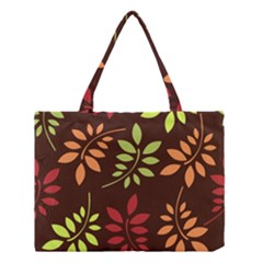 Leaves Wallpaper Pattern Seamless Autumn Colors Leaf Background Medium Tote Bag by Simbadda
