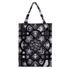 Geometric Line Art Background In Black And White Classic Tote Bag by Simbadda