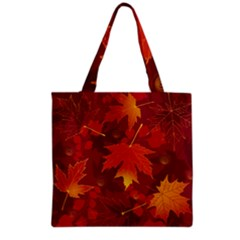 Autumn Leaves Fall Maple Grocery Tote Bag by Simbadda