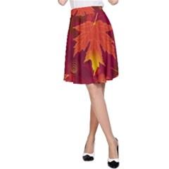 Autumn Leaves Fall Maple A Line Skirt