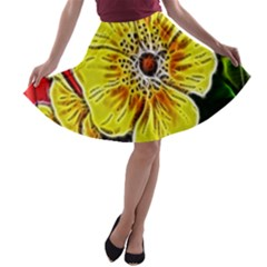 Beautiful Fractal Flower In 3d Glass Frame A Line Skater Skirt by Simbadda
