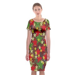 Star Abstract Multicoloured Stars Background Pattern Classic Short Sleeve Midi Dress by Simbadda