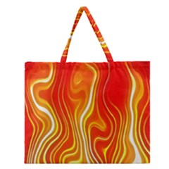 Fire Flames Abstract Background Zipper Large Tote Bag by Simbadda