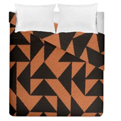 Brown Triangles Background Duvet Cover Double Side (queen Size) by Simbadda
