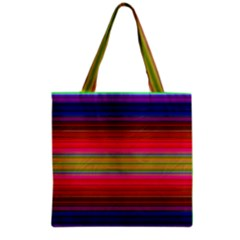 Fiestal Stripe Bright Colorful Neon Stripes Background Grocery Tote Bag by Simbadda