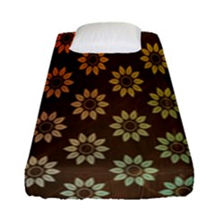 Grunge Brown Flower Background Pattern Fitted Sheet (single Size) by Simbadda