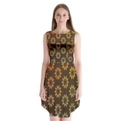 Grunge Brown Flower Background Pattern Sleeveless Chiffon Dress   by Simbadda