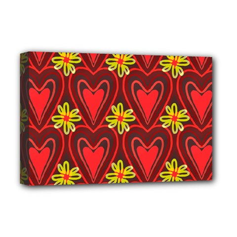 Digitally Created Seamless Love Heart Pattern Tile Deluxe Canvas 18  X 12   by Simbadda
