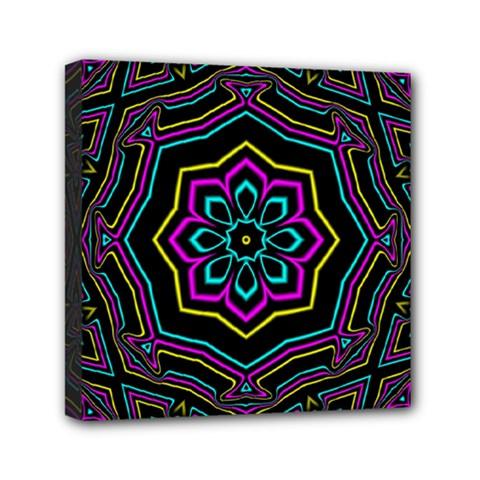 Cyan Yellow Magenta Kaleidoscope Mini Canvas 6  X 6  by Simbadda