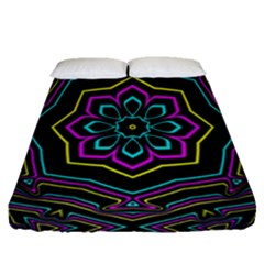 Cyan Yellow Magenta Kaleidoscope Fitted Sheet (queen Size)