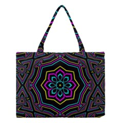 Cyan Yellow Magenta Kaleidoscope Medium Tote Bag by Simbadda