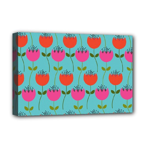 Tulips Floral Background Pattern Deluxe Canvas 18  x 12   by Simbadda