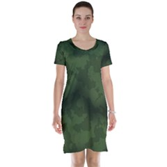 Vintage Camouflage Military Swatch Old Army Background Short Sleeve Nightdress