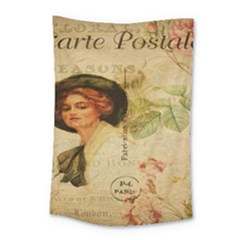 Lady On Vintage Postcard Vintage Floral French Postcard With Face Of Glamorous Woman Illustration Small Tapestry by Simbadda