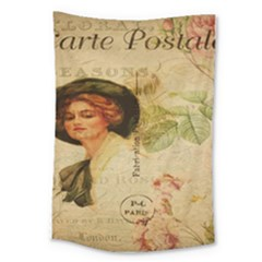 Lady On Vintage Postcard Vintage Floral French Postcard With Face Of Glamorous Woman Illustration Large Tapestry by Simbadda