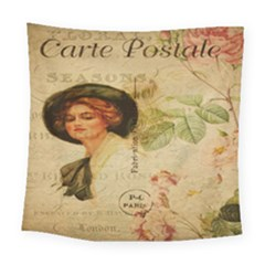 Lady On Vintage Postcard Vintage Floral French Postcard With Face Of Glamorous Woman Illustration Square Tapestry (large) by Simbadda