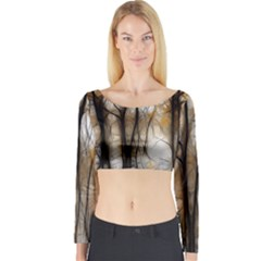 Fall Forest Artistic Background Long Sleeve Crop Top