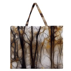 Fall Forest Artistic Background Zipper Large Tote Bag by Simbadda