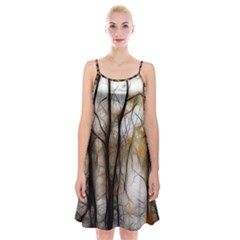 Fall Forest Artistic Background Spaghetti Strap Velvet Dress