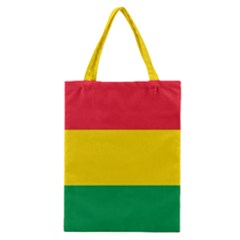 Rasta Colors Red Yellow Gld Green Stripes Pattern Ethiopia Classic Tote Bag by yoursparklingshop