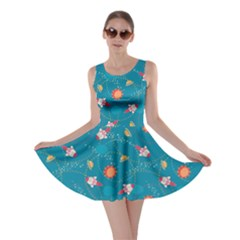 Blue Space with Cute Rocket Skater Dress by cowcowclothing