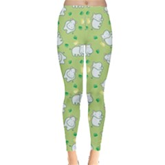 Green Happy Hippo With Friendly Bird Pattern Women s Leggings by CoolDesigns
