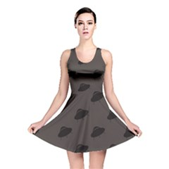 Black UFO Pattern Reversible Skater Dress by CoolDesigns