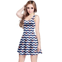 Navy Sailor Tile Pattern With Red Anchor On A White And Blue Sleeveless Skater Dress by CoolDesigns
