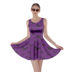 Purple With Halloween Bats And Stars Skater Dress by CoolDesigns