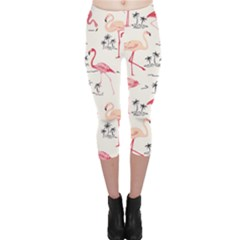 Colorful Flamingo Bird Pattern Capri Leggings by CoolDesigns