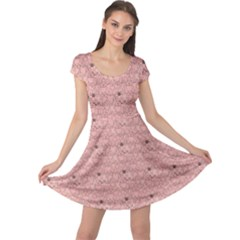 Pink Pattern With Cats Cap Sleeve Dress by CoolDesigns