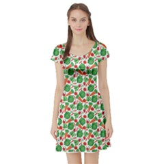 Green Vegetable Pattern Short Sleeve Skater Dress by CoolDesigns