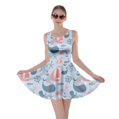 Blue Pattern with Cute Whales Sailing Octopus Skater Dress by cowcowclothing