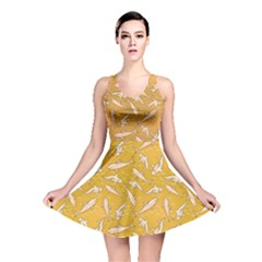 Yellow With Stylized Sharks Stylish Design Reversible Skater Dress by CoolDesigns