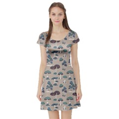 Blue Colorful Mushrooms Pattern Short Sleeve Skater Dress by CoolDesigns