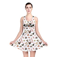 Colorful Pattern With Japanese Food Reversible Skater Dress by CoolDesigns