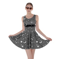 Dark Gray Fun Night Sky the Moon and Stars Skater Dress by CoolDesigns