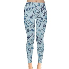 Blue Pattern With Music Notes Women s Leggings by CoolDesigns