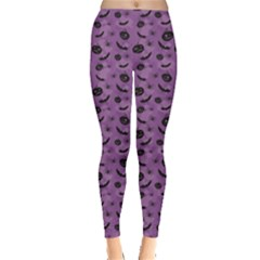 Purple Halloween Pumpkins Bats And Spiders Grungy Women s Leggings by CoolDesigns