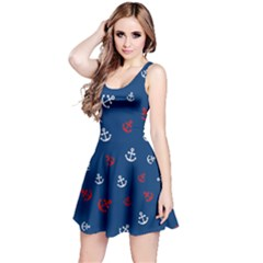 Navy Red White Reversible Sleeveless Dress by CoolDesigns