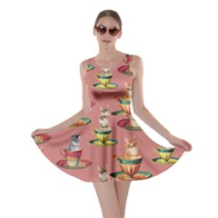 Afternoon Tea Cat Coral Skater Dress