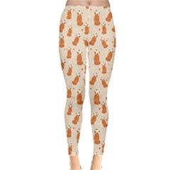Orange Pattern Fox Leggings by CoolDesigns