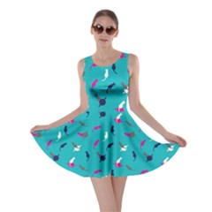 Aqua Space With Cats Saturn And Stars Skater Dress  by CoolDesigns