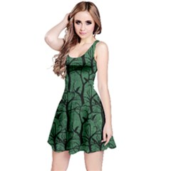 Light Green Ravens Pattern Reversible Sleeveless Dress by CoolDesigns