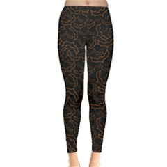 Black Pattern With Bats For Halloween Women s Leggings by CoolDesigns