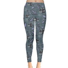 Blue Hedgehogs in the Night Forest Pattern Women s Leggings by CoolDesigns
