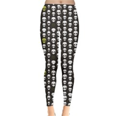 Black Alien Head Women s Leggings by CoolDesigns